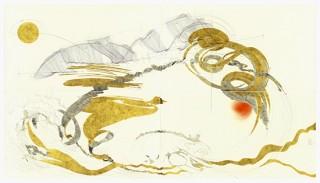 Jorinde VOIGT, Goethe-Faust-Prologue Im Himmel 1-4-Berlin-2013-Polyptique-280 x 500 cm-crayon, encre, feuille d'or sur papier