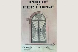 Projet de porte en fer forgé, signé Charbonnier, non daté.