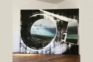 Pohlodie I, 2018, 200 x 250 cm, huile, acrylique et sérigraphie sur toile