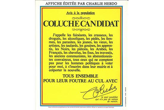Affiche de Coluche pour la campagne présidentielle, 1980.